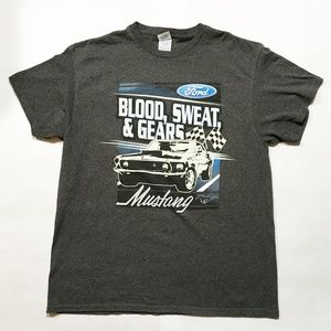 Ford Blood Sweat Gears Mustang T Shirt Sz L